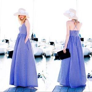 J. Crew 100% Cotton Poplin Gingham Maxi Dress